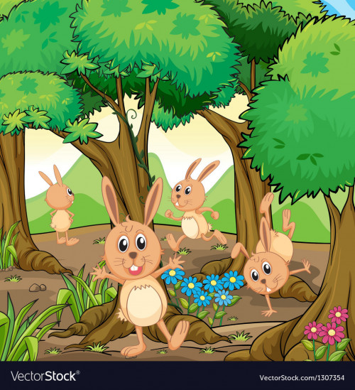 four-rabbits-playing-at-the-forest-vector-1307354-1.jpg